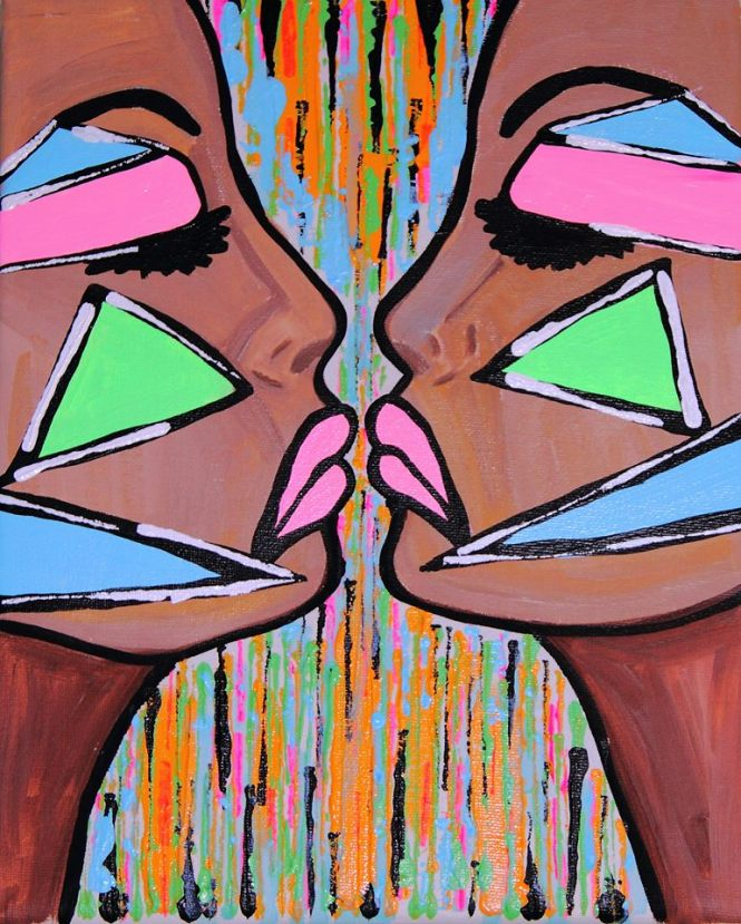 """Female War - By Charlotte Farhan Acrylic On Boxed Canvas 10"""" X 12"""" X 1"""""""