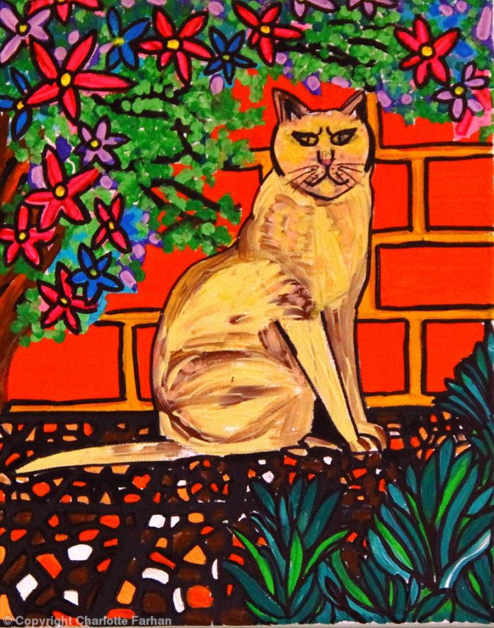 Cat Among the Flowers - By Charlotte Farhan