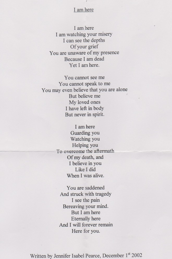 Poem by Jenny left in her suicide note