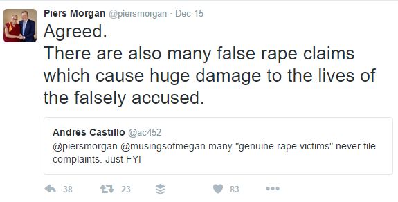Pierce Morgan victim blames rape survivors