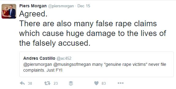 Pierce Morgan victim blames rape survivors